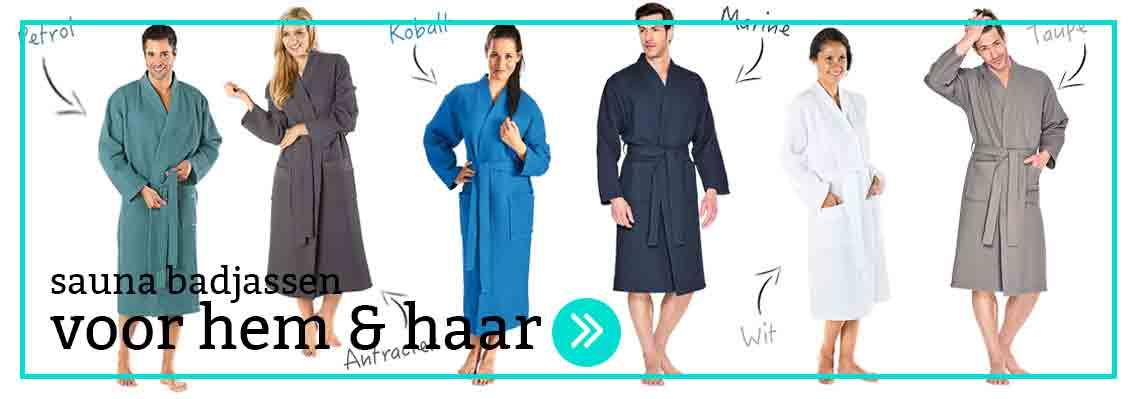 sauna badjassen met capuchon