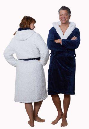 Badrock unisex blauwe badjas met capuchon – sherpa fleece