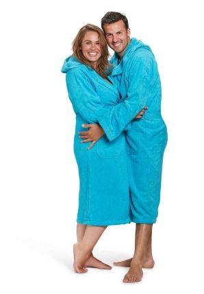 Capuchon badjas aquablauw - badstof