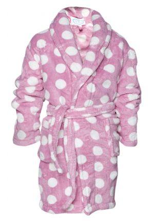 Fleece kinderbadjas / roze badjas met stippen