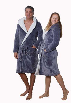 Badrock unisex grijze badjas met capuchon – sherpa fleece