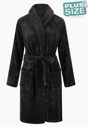 Relax Company grote maten badjas zwart - fleece