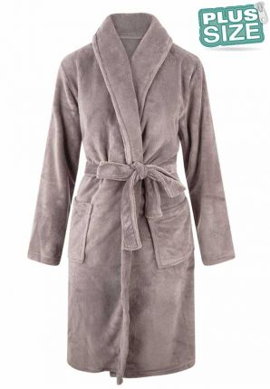 Relax Company grote maten badjas lichtgrijs - fleece