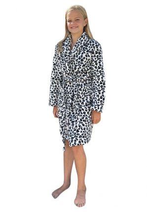 Badrock kinderbadjas panter grijstinten - fleece