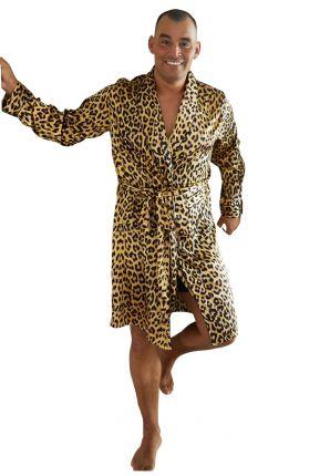 Satin-Luxury satijnen heren badjas luipaard