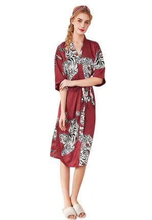 Satin-Luxury rode dames kimono tijger – satijn