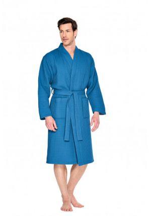 Felblauwe badjas wafelstructuur