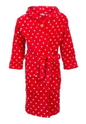 Rode stippen badjas