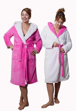 Badrock unisex roze badjas met capuchon – sherpa fleece
