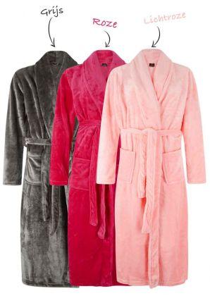 Badjas fleece met borduring