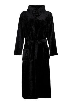 Unisex fleece badjas zwart