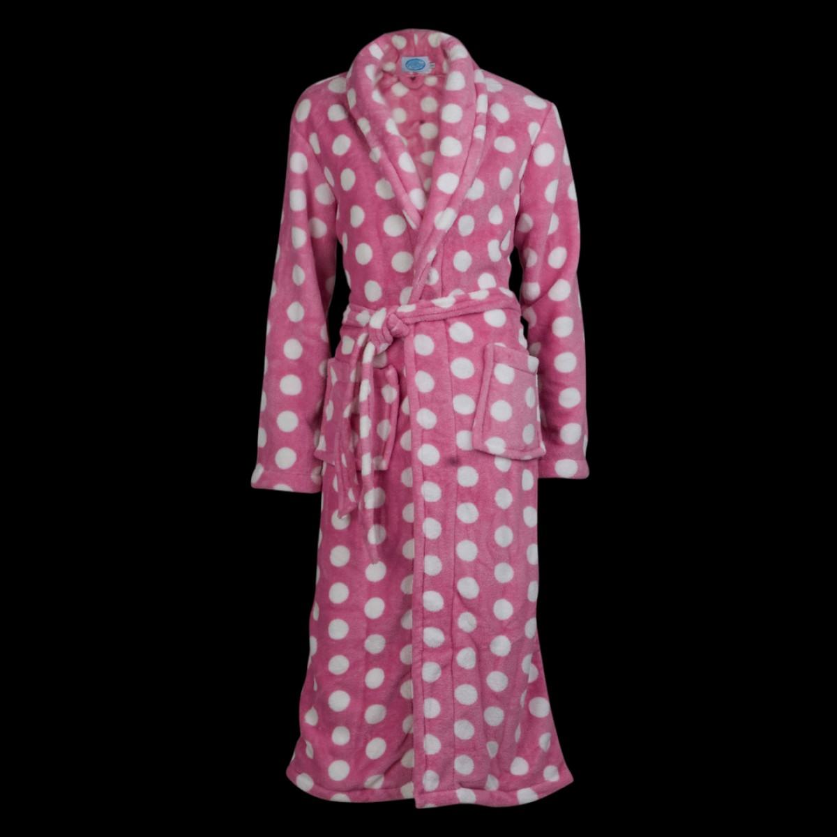 Roze fleece badjas met witte stippen