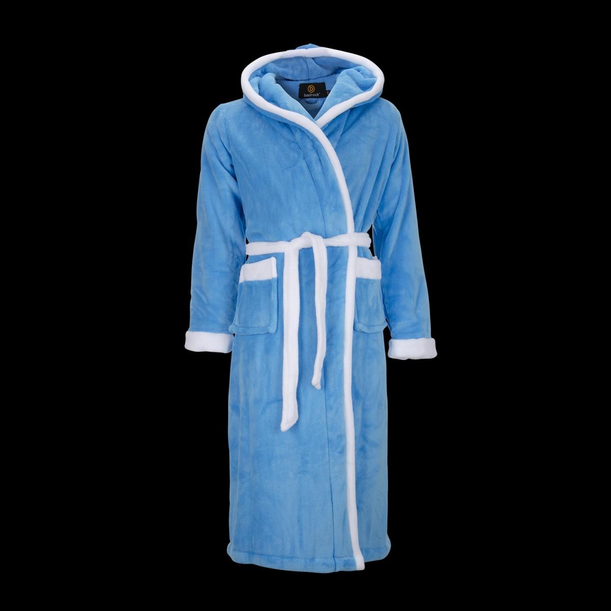 fleece badjas aquablauw