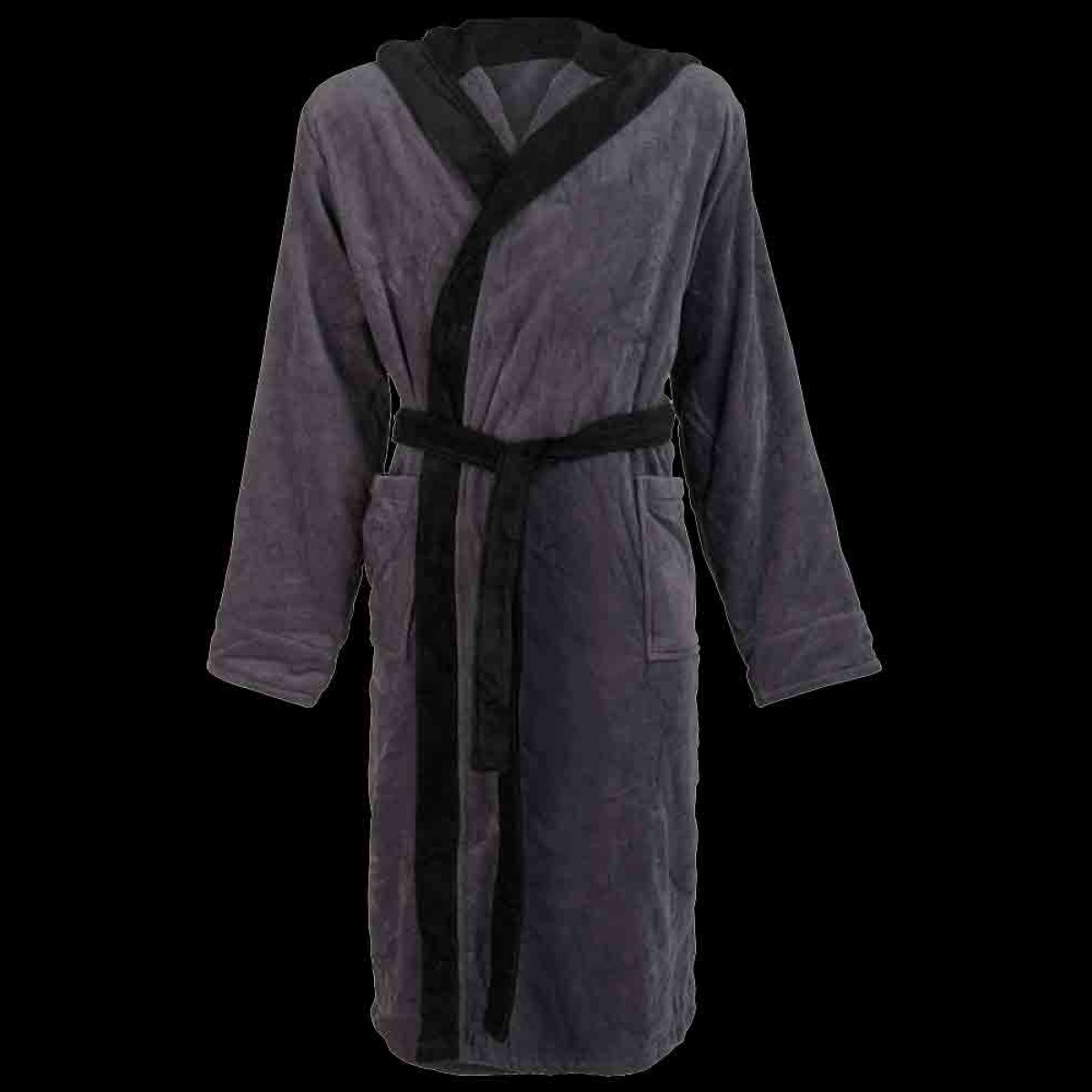 grijze badjas met zwarte capuchon
