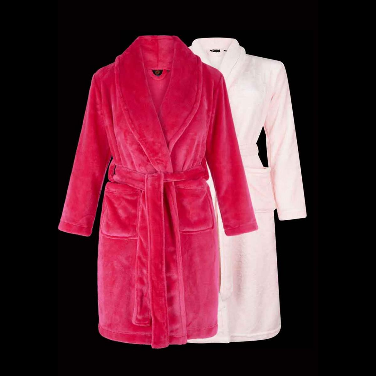 Meisjes kinderbadjas - 2 kleuren roze