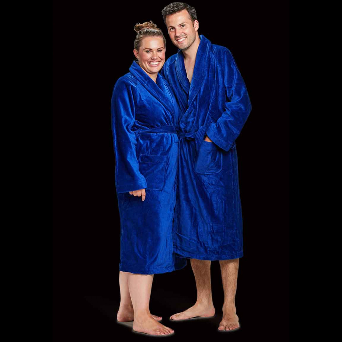 velkours katoenen badjas kobaltblauw