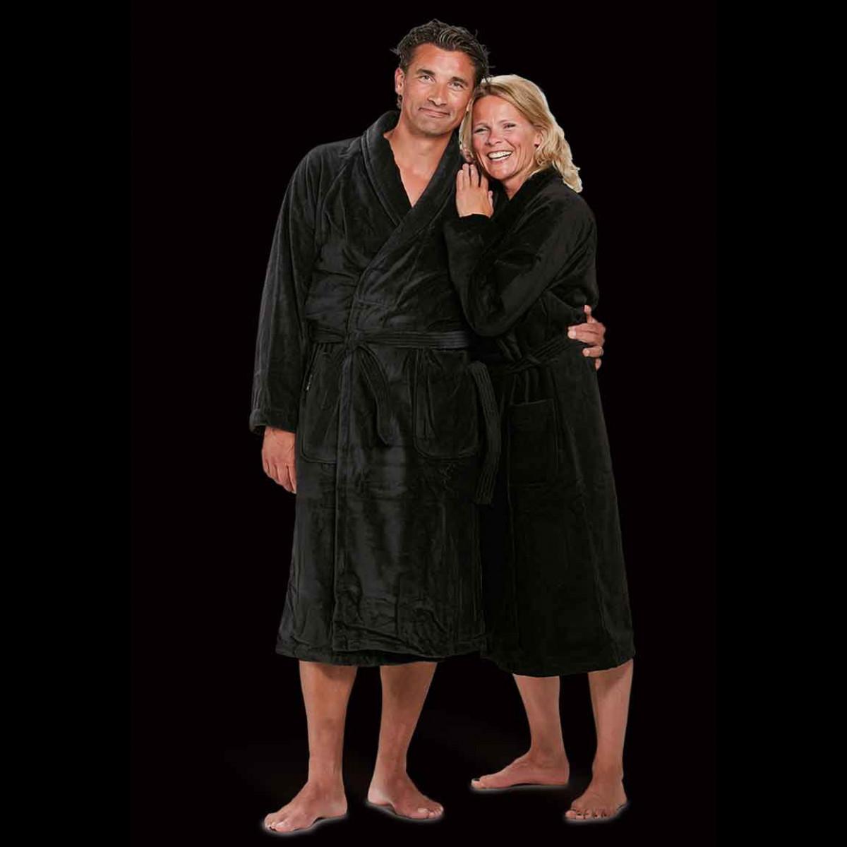 velours katoenen badjas zwart
