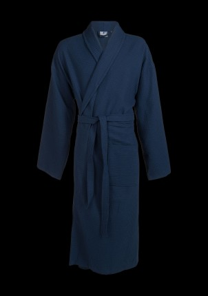 Grote maten badjas wafelstructuur blauw