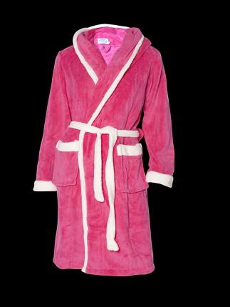 Roze badjas met capuchon
