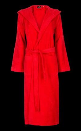rode badjas met capuchon