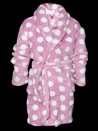 Fleece kinderbadjas / roze badjas met stippen