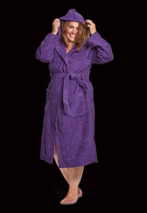 Capuchon badjas paars - badstof