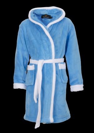 kinder badjas aquablauw met capuchon