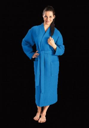 kobaltblauwe badjas wafelstructuur