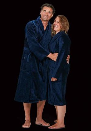 velours katoenen badjas blauw