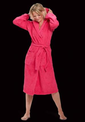Capuchon badjas roze - badstof