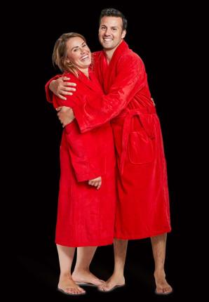 Velours katoenen badjas rood