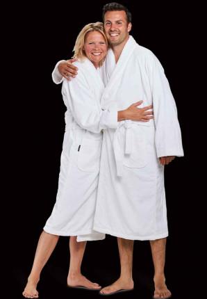 velours katoenen badjas wit
