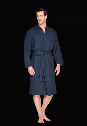 Blauwe badjas wafelstructuur