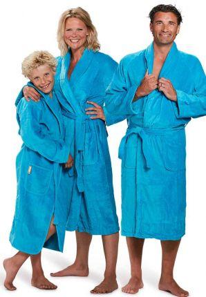 Velours katoenen badjas aquablauw