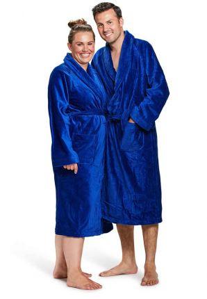 Velours katoenen badjas kobalt blauw