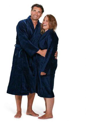 Velours katoenen badjas donkerblauw