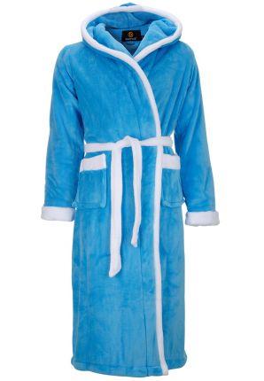Badjas aquablauw - capuchon badjas