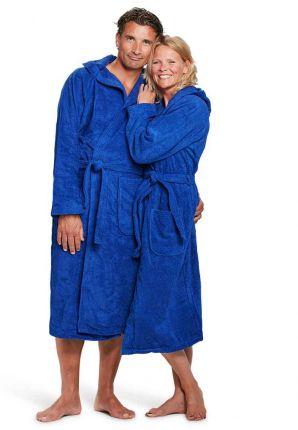 Capuchon badjas kobaltblauw - badstof