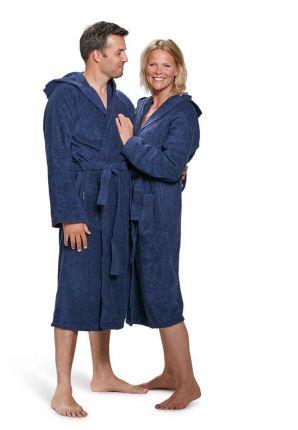 Capuchon badjas marineblauw - badstof