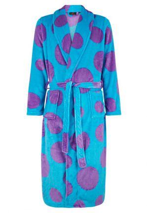 Damesbadjas met paarse stippen