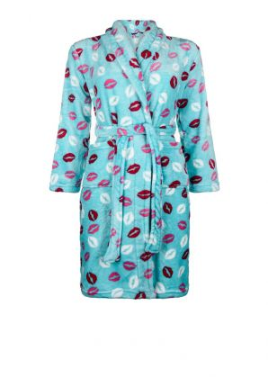 Fleece kinderbadjas met mondjes